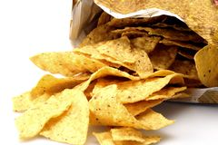 Bag of yellow Corn Chips. Fresh bag of yellow corn chips waiting for cheese royalty free stock image