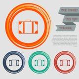 Bagaż ikona na czerwonym, błękitny, zielony, pomarańcze zapina dla twój projekta z astronautycznym tekstem i strony internetowej ilustracja wektor
