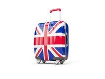 Bagaż z flaga zlany królestwo Walizka odizolowywająca na biel royalty ilustracja