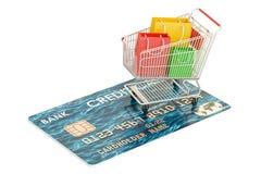 bagaże tła koncepcję czworonożne zakupy białą kobietę Kredytowa karta i wózek na zakupy z zakupów półdupkami Obraz Royalty Free