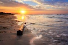 Bagażnika lying on the beach na plaży Wschód słońca przy wybrzeżem Obraz Royalty Free