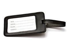 bagaż czarny rzemienna etykietka Zdjęcie Stock