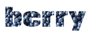 BAGA da palavra composta de mirtilos frescos Alimento azul Uvas-do-monte maduras Vista superior Fundo fresco da uva-do-monte Juju imagens de stock royalty free