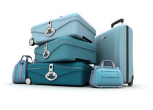 Bagage aux nuances bleues Photo stock