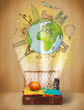 Bagage avec le voyage autour du concept d'illustration du monde Image libre de droits