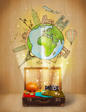 Bagage avec le voyage autour du concept d'illustration du monde Images stock