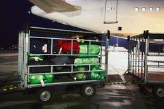 Bagage bij de luchthaven stock afbeeldingen