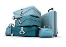 Bagage in blauwe schaduwen Stock Foto