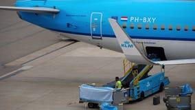 Bagage de chargement à bord des avions banque de vidéos