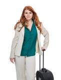 Bagage de transport de femme d'affaires Images stock