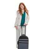 Bagage de transport de femme d'affaires Photographie stock