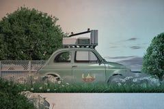 Bagage en materiaal op de bovenkant van een oude auto wordt geladen die Stock Foto
