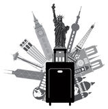 Bagage et bâtiments iconiques pour l'illustration de vecteur de voyage du monde Photo libre de droits