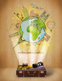 Bagage med illustrationbegrepp för lopp runt om världen Fotografering för Bildbyråer
