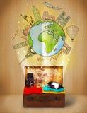 Bagage med illustrationbegrepp för lopp runt om världen Arkivbild