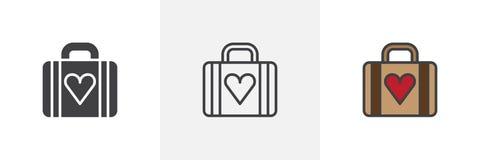 Bagage met pictogrammen van de hart de verschillende stijl vector illustratie