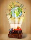 Bagage met reis rond het concept van de wereldillustratie Stock Afbeeldingen
