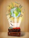 Bagage met reis rond het concept van de wereldillustratie Royalty-vrije Stock Fotografie