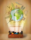 Bagage met reis rond het concept van de wereldillustratie Stock Fotografie