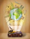 Bagage met reis rond het concept van de wereldillustratie Royalty-vrije Stock Afbeelding