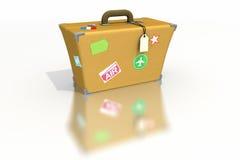 Bagage met stickers en markeringen Stock Foto
