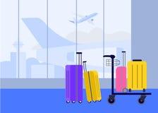 Bagage på flygplatsen i ankomst- och avvikelsekorridoren på bakgrunden av flygflygplan stock illustrationer