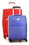 Bagage se composant de grandes valises sur le blanc Photographie stock libre de droits