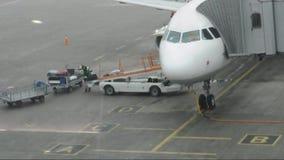 Bagage van het vliegtuig bij de luchthaven wordt leeggemaakt die stock footage