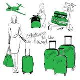Bagage voor luchthaven wordt geplaatst die Royalty-vrije Stock Afbeeldingen
