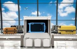 Bagagebildläsare i flygplats Arkivfoton