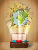 Bagagem com conceito da ilustração do curso em todo o mundo ilustração do vetor