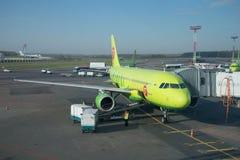 Bagagem da carga na empresa plana Airbus A319 S7 Sibéria antes da partida Aeroporto de Domodedovo, Moscou Fotografia de Stock Royalty Free