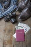 Bagagem do curso do vintage Fotografia de Stock Royalty Free