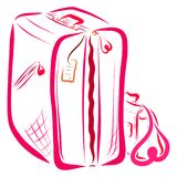 A bagagem, a grande mala de viagem e a bolsa das mulheres ilustração do vetor