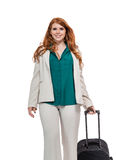 Bagagem levando da mulher de negócio Imagem de Stock Royalty Free
