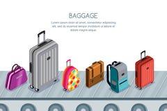 Bagagem, mala de viagem, sacos na correia transportadora Ilustração isométrica do vetor 3d Conceito para a reivindicação de bagag ilustração stock