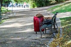 A bagagem saiu fora em Central Park sem nenhum cuidado Foto de Stock
