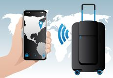Bagages futés avec le cheminement intégré de GPS Photographie stock libre de droits