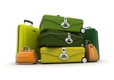 Bagages réglés dans des couleurs vertes et acides Photos libres de droits