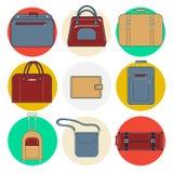 Bagagesymboler Bagagesymbolsuppsättning Hänger lös och resväskor Arkivbild