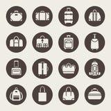 Bagagesymbolsuppsättning royaltyfri illustrationer