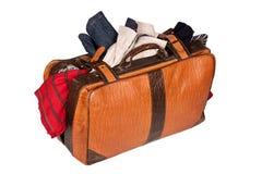 bagaget isolerade overstuffed Royaltyfri Fotografi