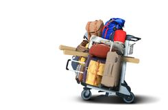 Bagagetoeristen met grote koffers stock afbeeldingen