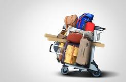 Bagagetoeristen met grote koffers royalty-vrije stock foto's