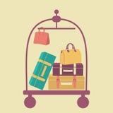 Bagagevagn med resväskor och påsar Royaltyfri Fotografi