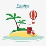 Bagagge paradisiaco e beach ball del airballoon dell'isola di vacanze Fotografia Stock Libera da Diritti