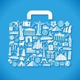 Bagagli blu di vettore di viaggio Fotografie Stock Libere da Diritti