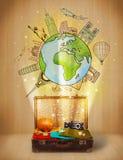 Bagagli con il viaggio intorno al concetto dell'illustrazione del mondo Immagini Stock
