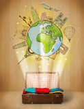 Bagagli con il viaggio intorno al concetto dell'illustrazione del mondo Immagine Stock Libera da Diritti