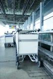 Bagagli dei carrelli in un crudo in aeroporto Fotografia Stock Libera da Diritti